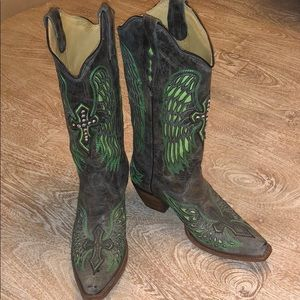 Corral Vintage cowboy boots green brown cross 8